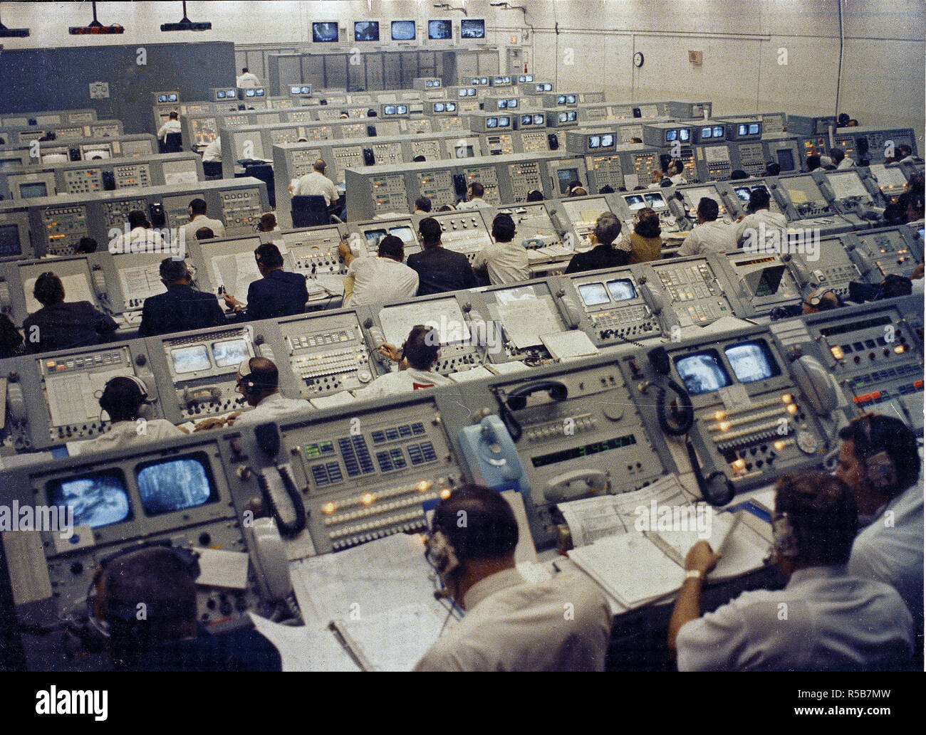 This photograph depicts a busy Launch Control Center at Kennedy Space Center during the Apollo 8 mission launch activities. - Stock Image