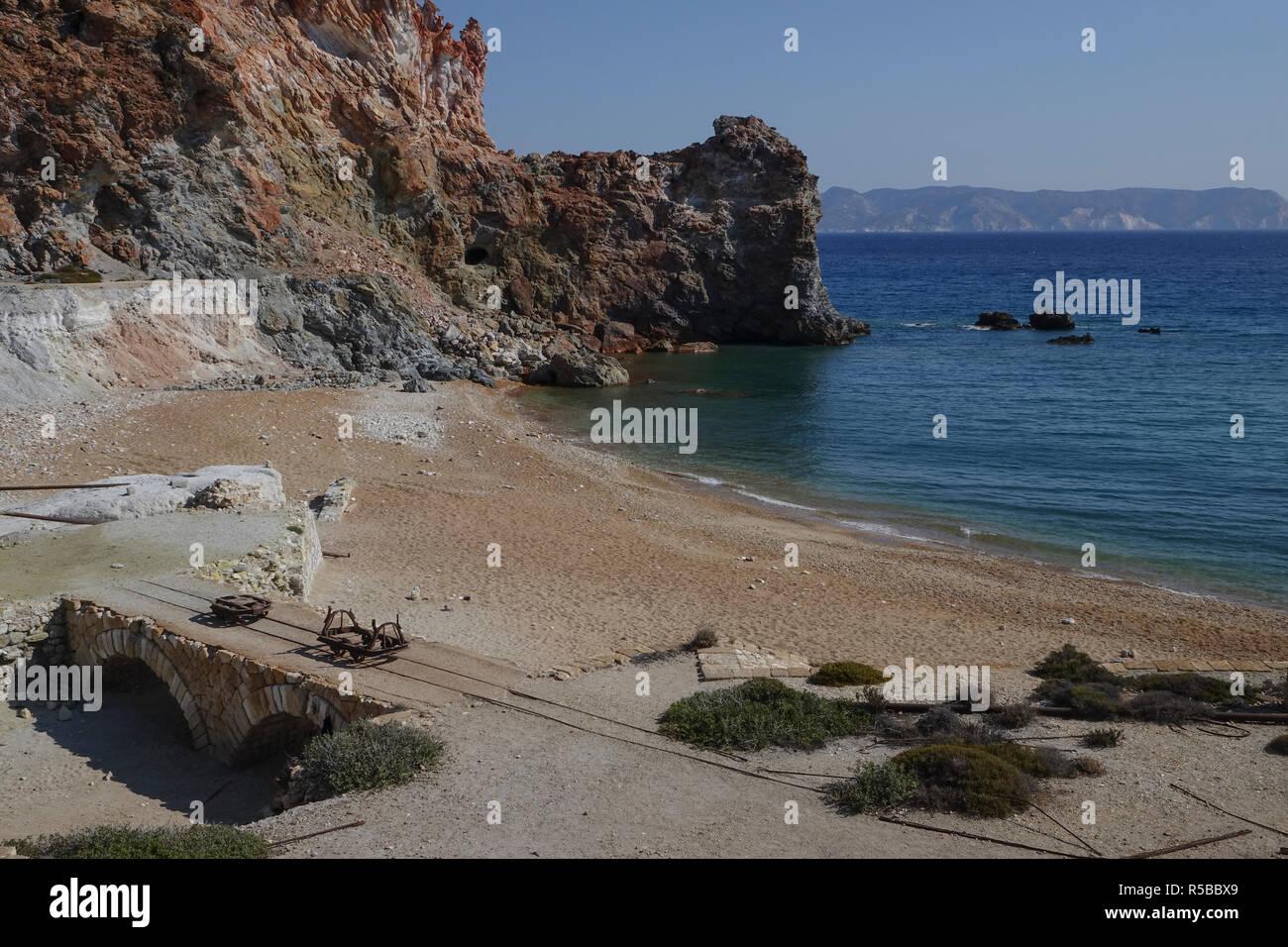 Paliorema sulfur mine and processing facility, Milos Island, Greece - Stock Image