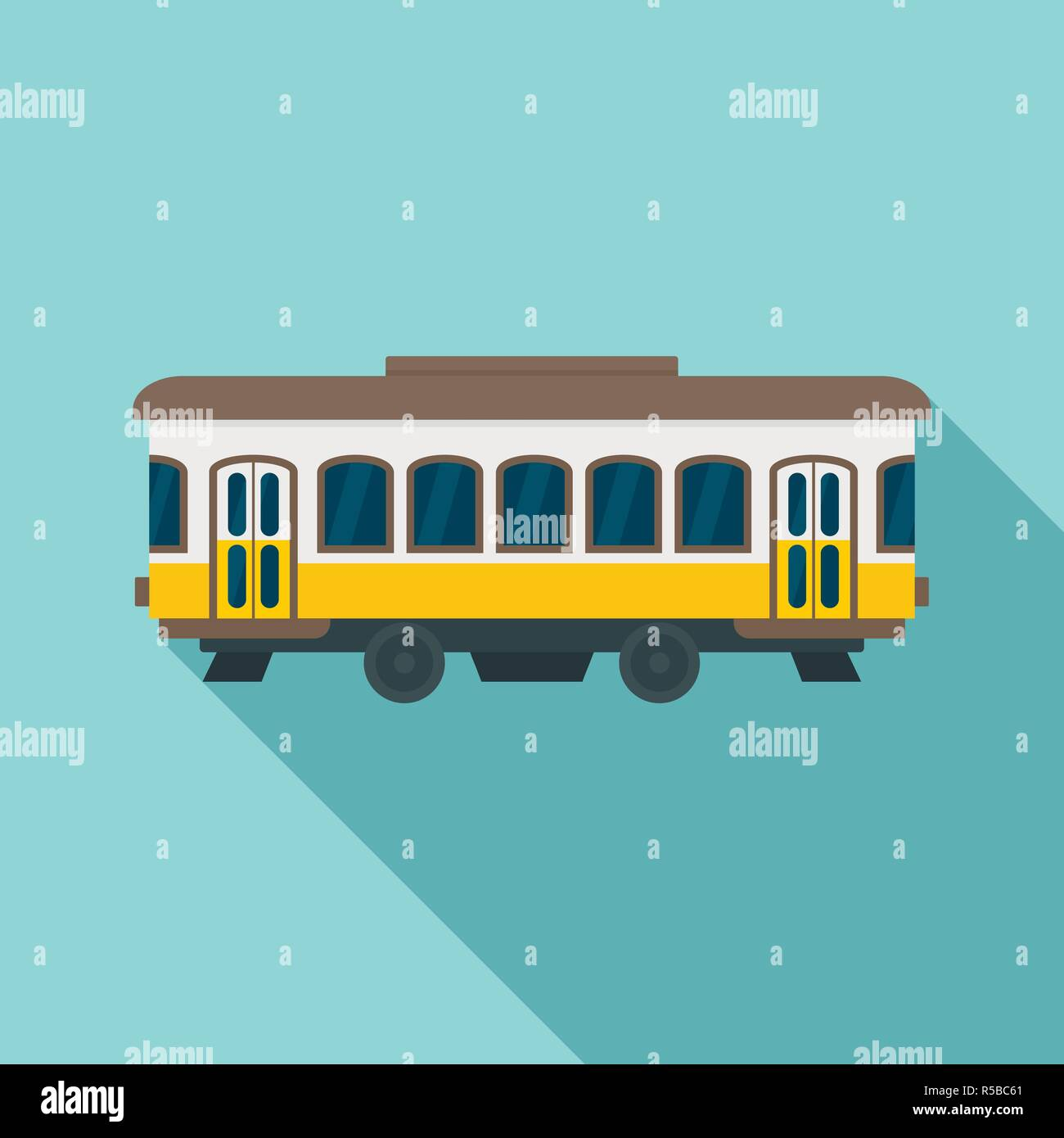 City old tram icon. Flat illustration of city old tram vector icon for web design - Stock Vector
