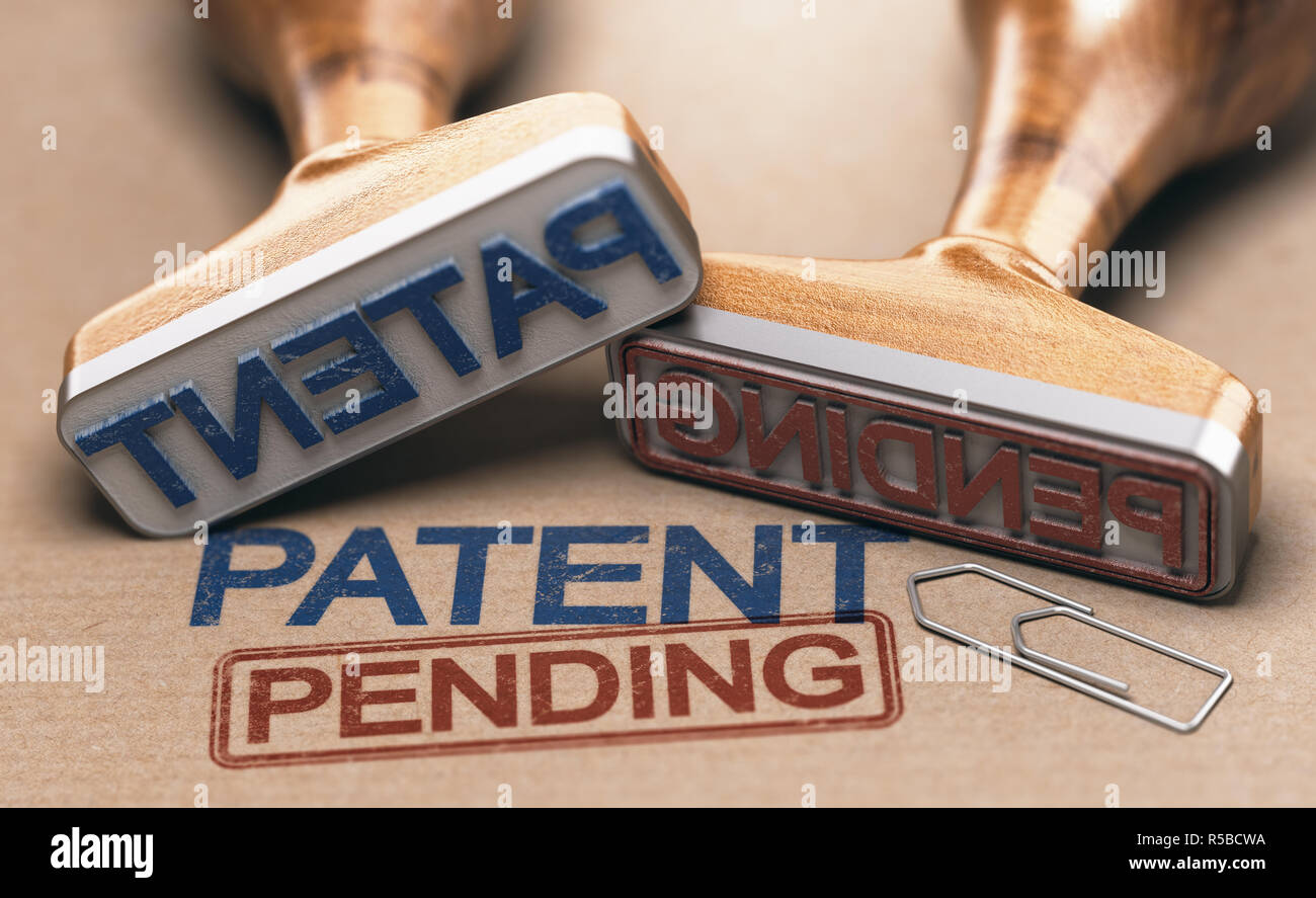 Two rubber stamps with the words patent and pending over brown paper background. Intellectual property concept. 3D illustration. Stock Photo