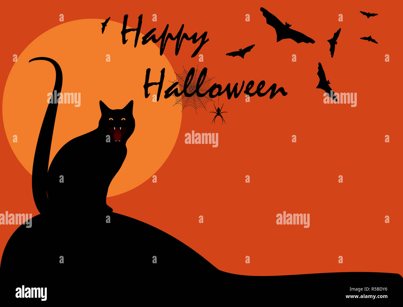 Happy Halloween mystery night greeting card. Spooky night wallpaper with black cat, flying bats and spider hanging on web silhouette on full moon - Stock Image