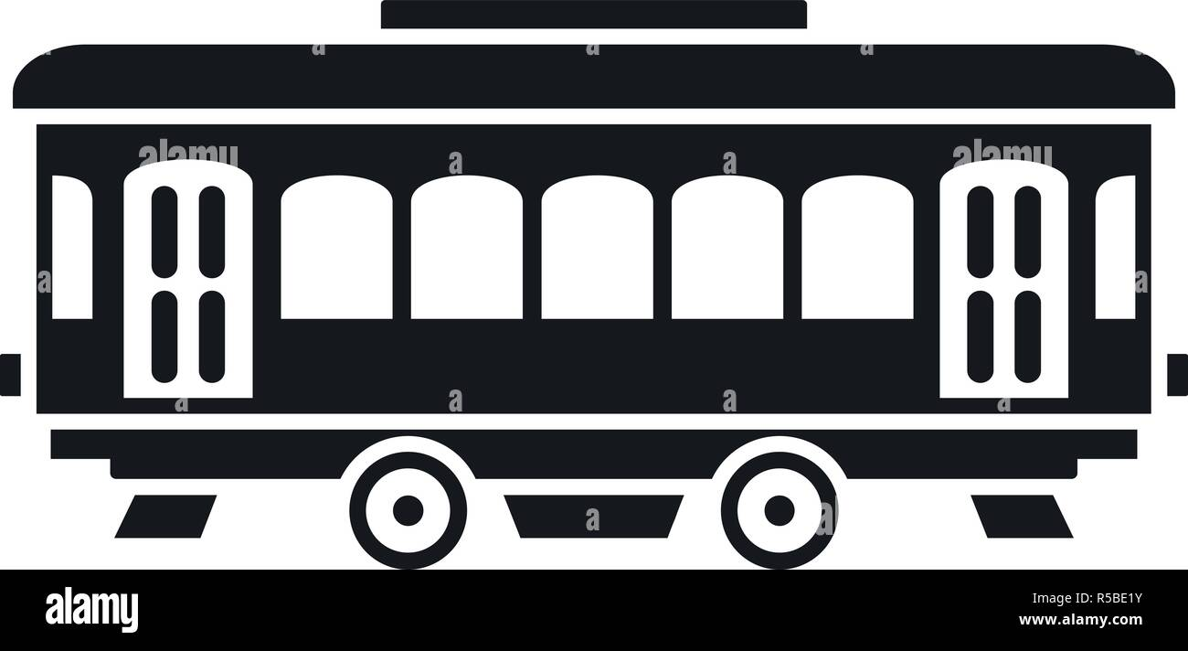 City old tram icon. Simple illustration of city old tram vector icon for web design isolated on white background - Stock Vector