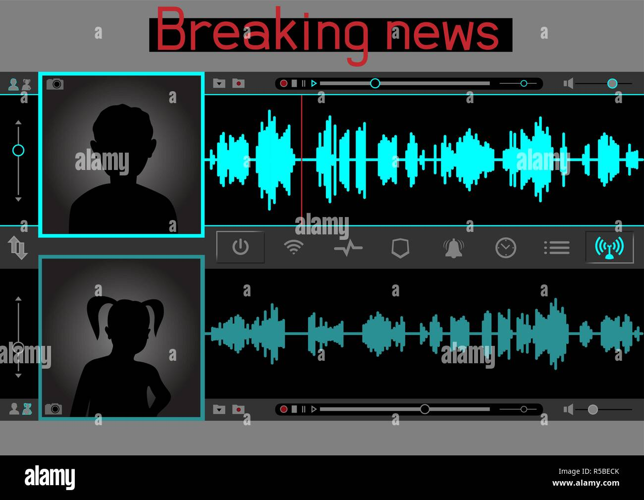 wiretap sound talks template - Stock Vector