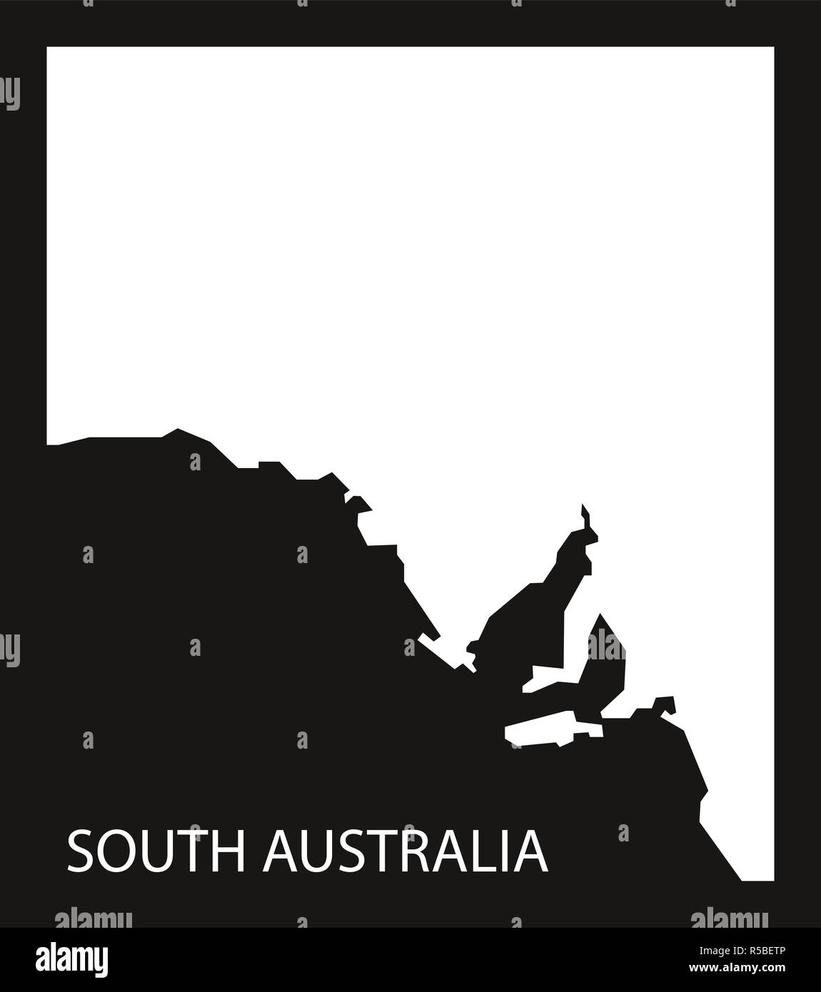 South Australia map black inverted silhouette illustration - Stock Image