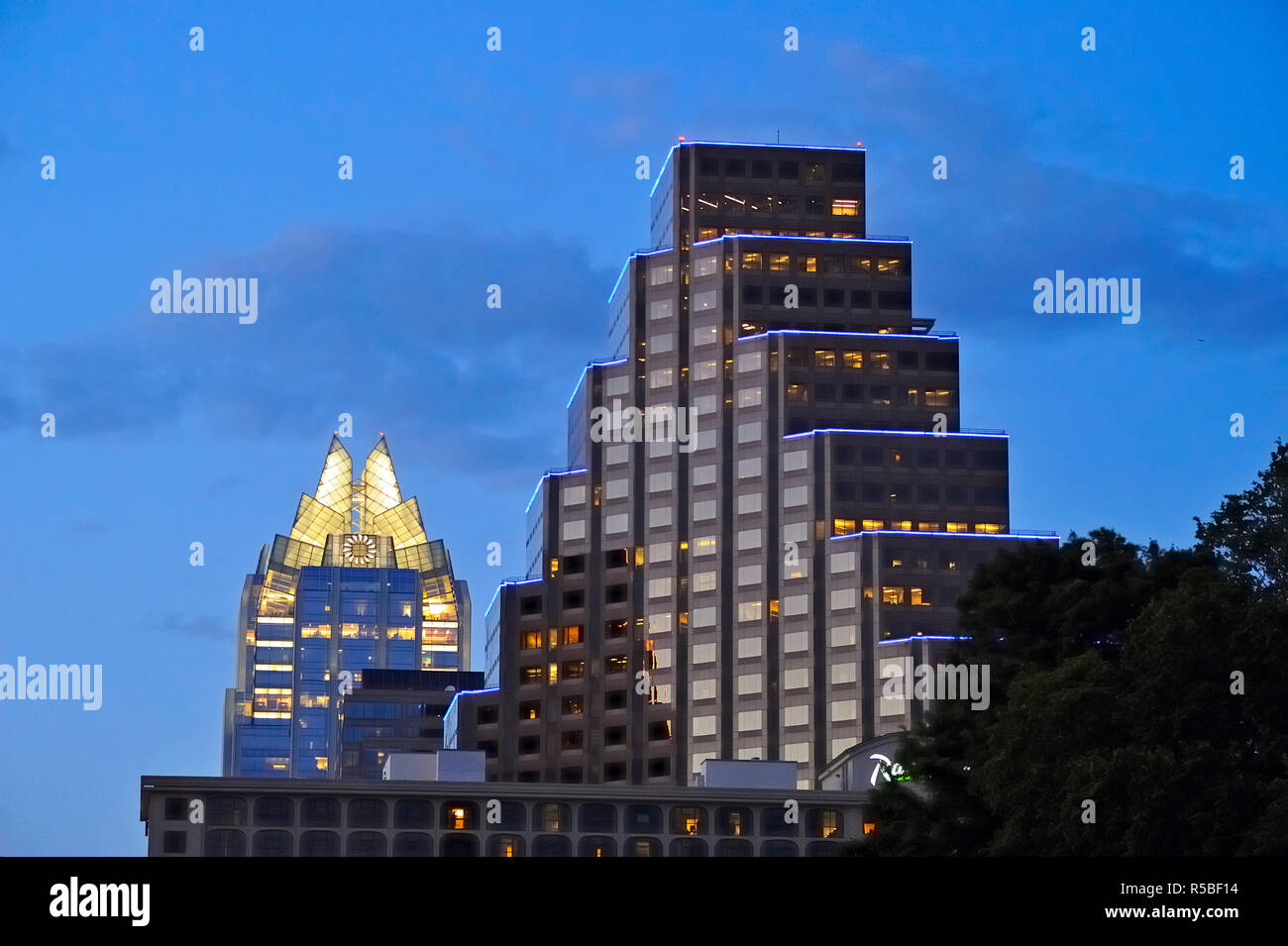 Austin high rise buildings (Frost Building) , Austin, Texas, USA - Stock Image