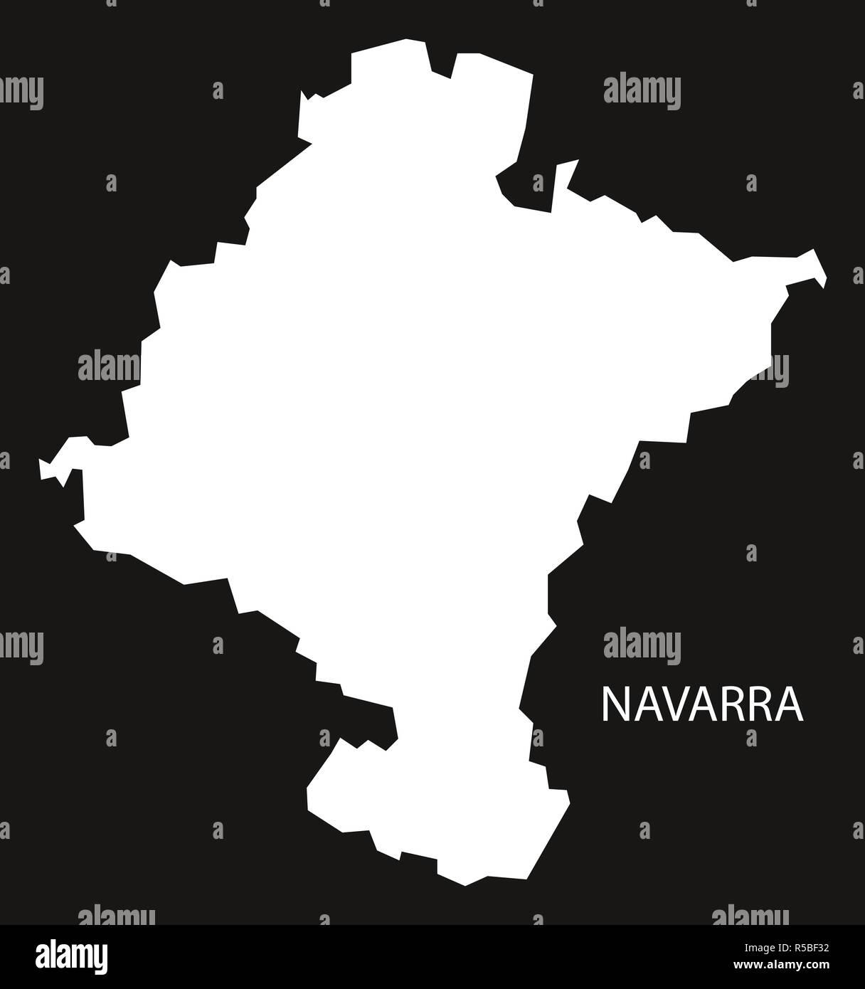 Navarra Spain Map Black Inverted Silhouette Illustration Stock Photo