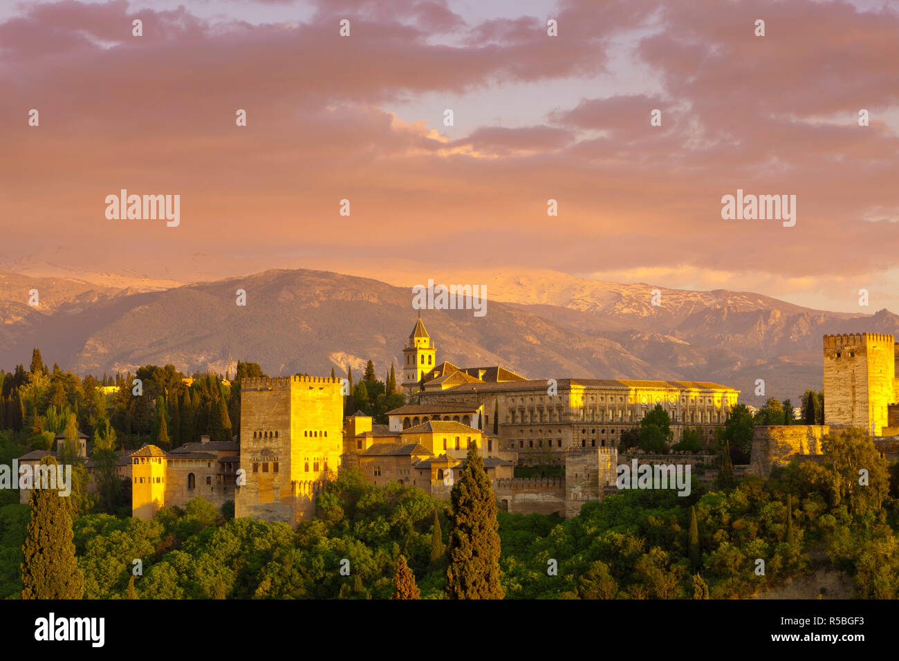 The Alhambra Palace at sunset, Granada, Granada Province, Andalucia, Spain - Stock Image