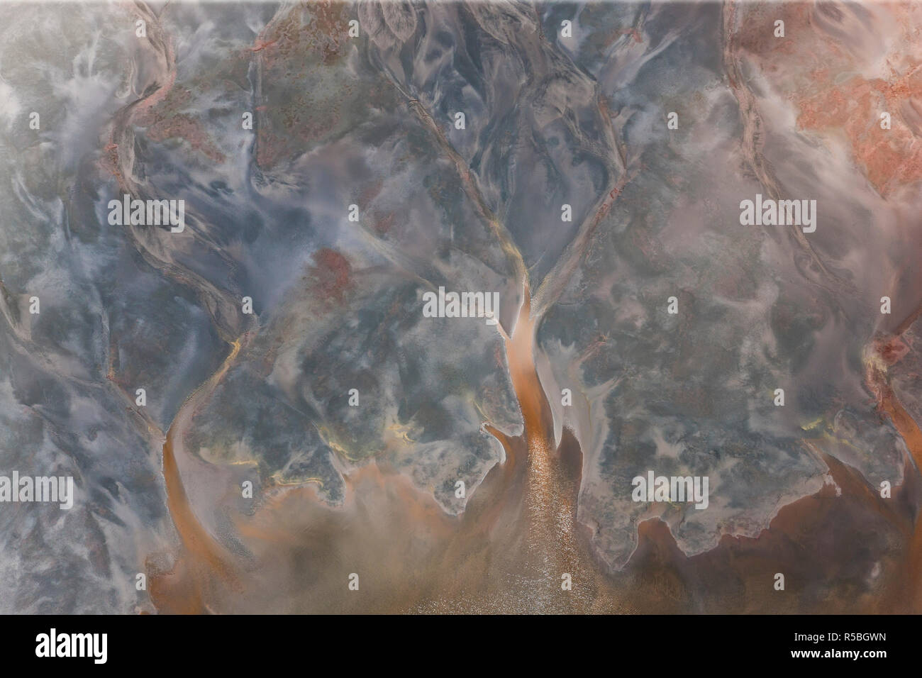 Aerial shot of oxidized iron minerals in water in old mining area, Rio Tinto. Huelva Province, Spain - Stock Image
