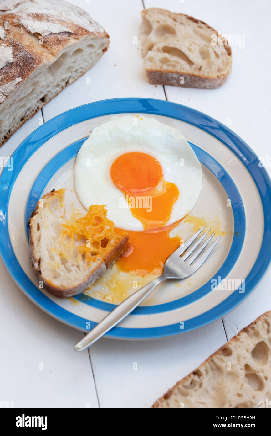 Fried Hens Eggs on a cornishware plate with Sourdough bread - Stock Image
