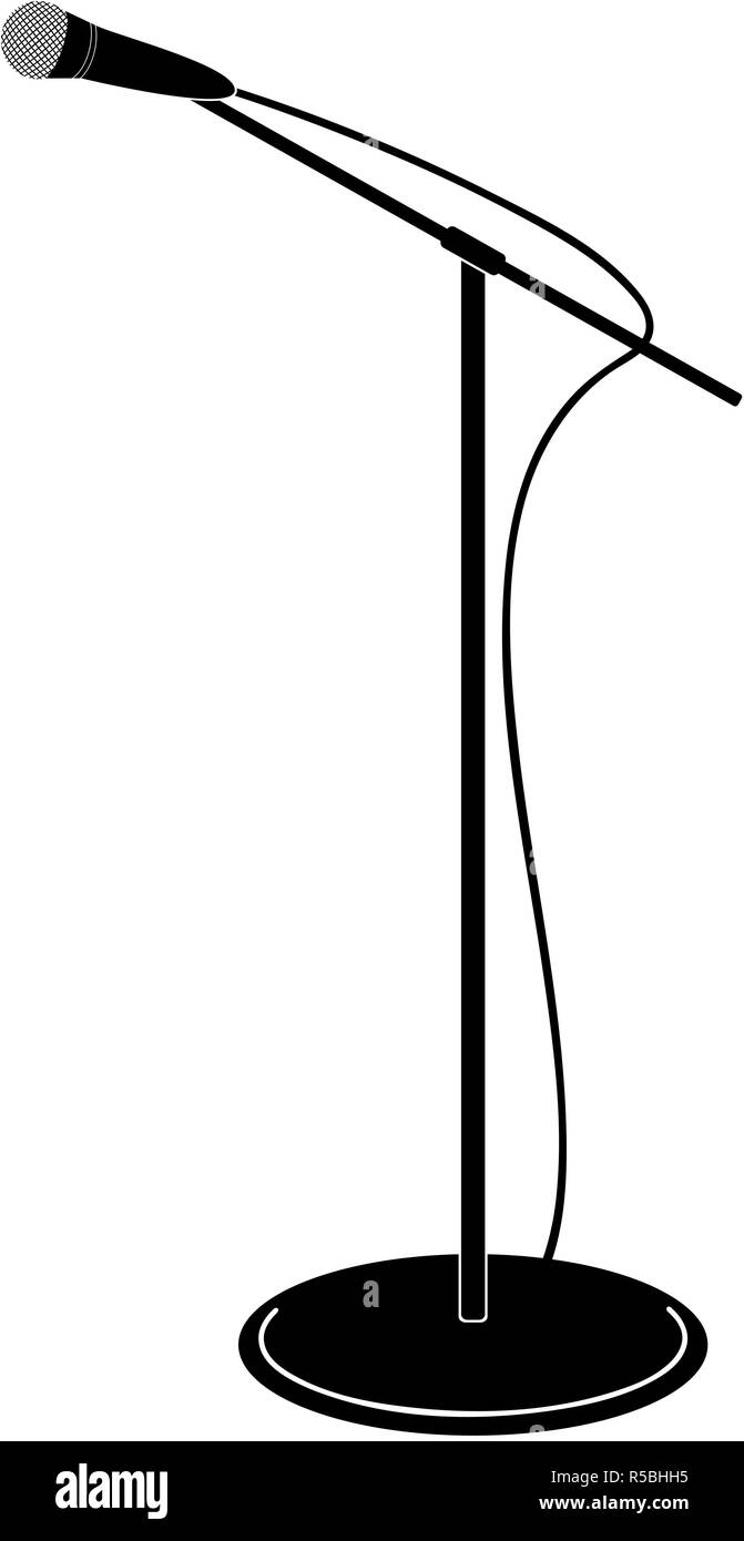 Microphone stand vector illustration in black and white - Stock Image