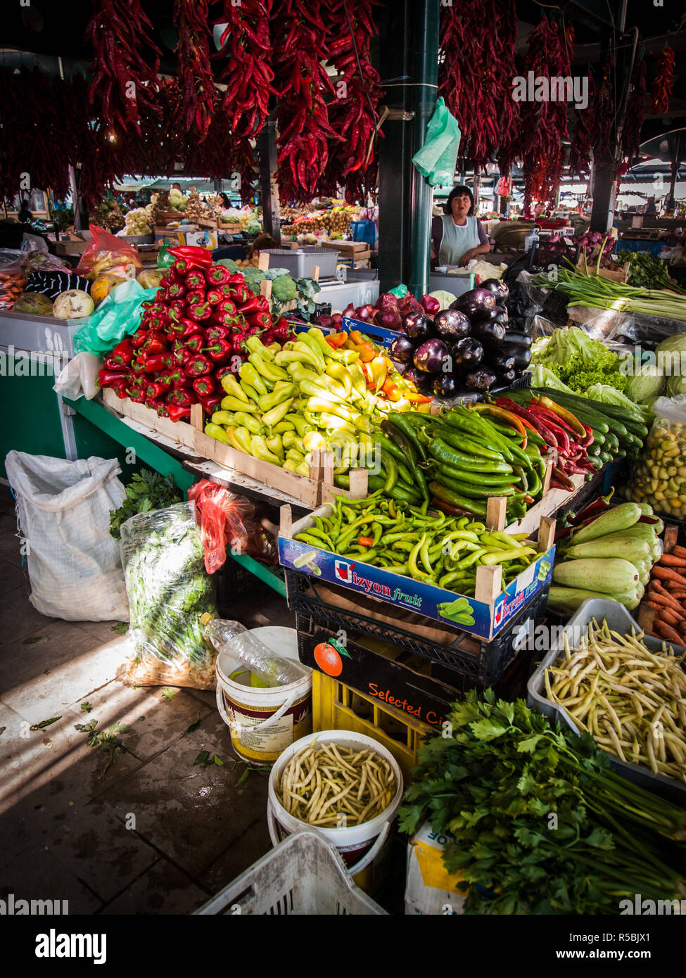 Fresh fruit and vegetables market in Bitola, Macedonia. - Stock Image