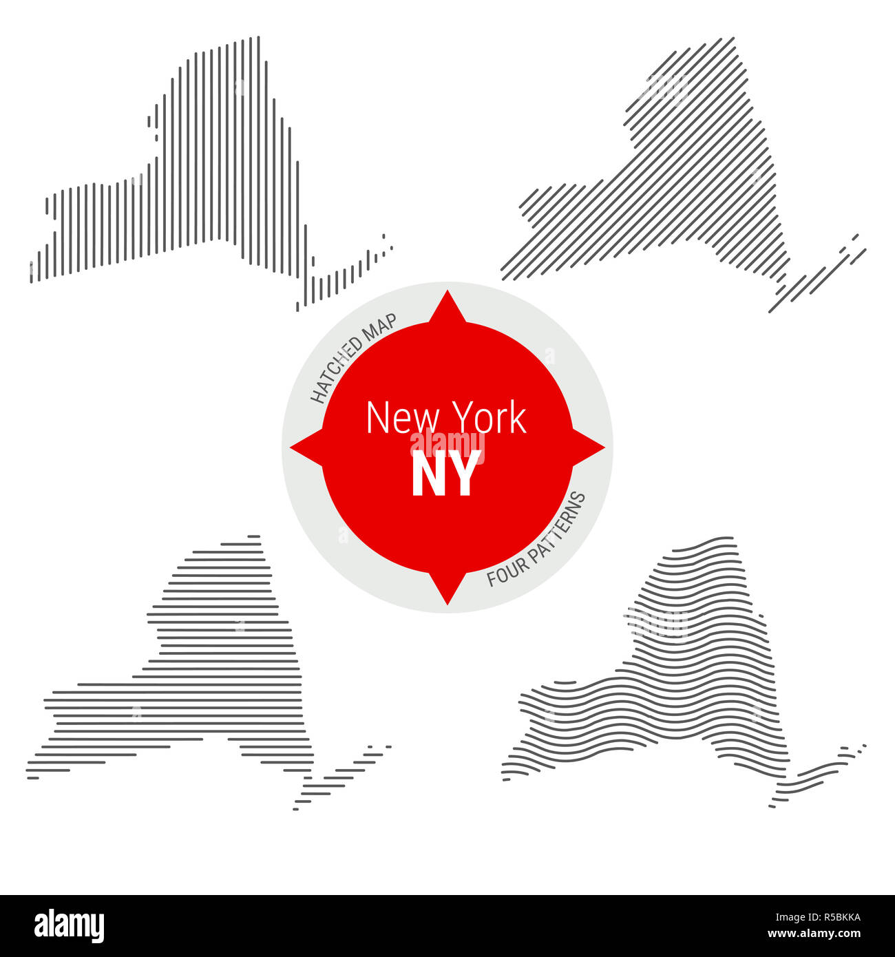 Hatched Pattern Map of New York. Stylized Simple Silhouette of New ...