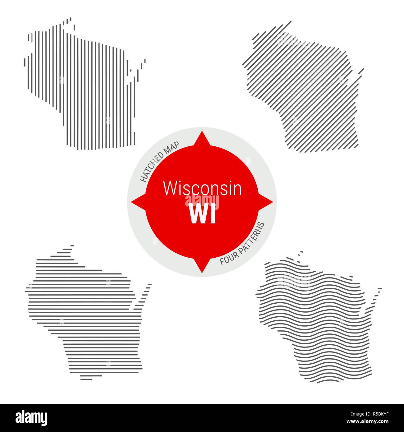 Political Map Wisconsin Stock Photos Political Map Wisconsin Stock