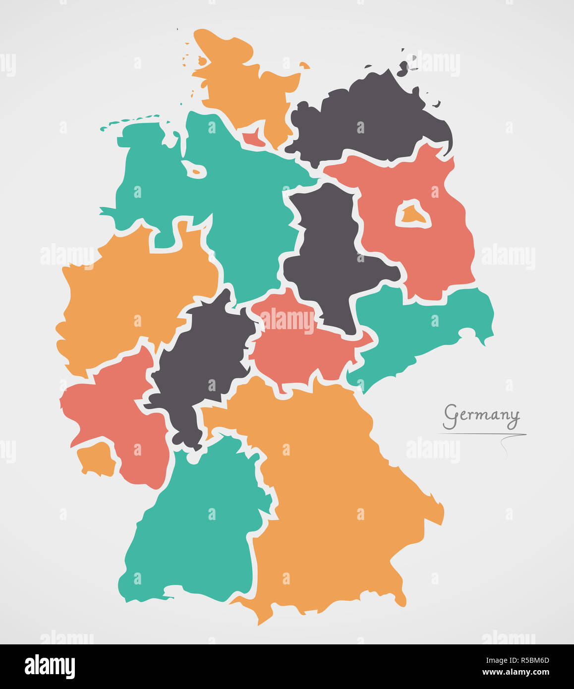Germany Map States.Germany Map With States And Modern Round Shapes Stock Photo