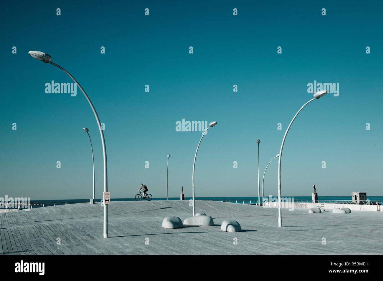 Israel, Tel Aviv, Old Port, Namal, renovated port now home to shops and cafes, boardwalk - Stock Image