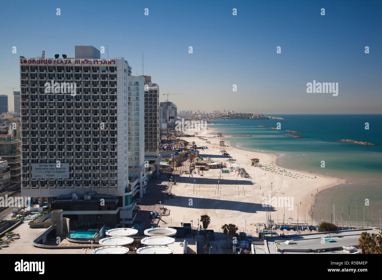 Israel, Tel Aviv, beachfront - Stock Image