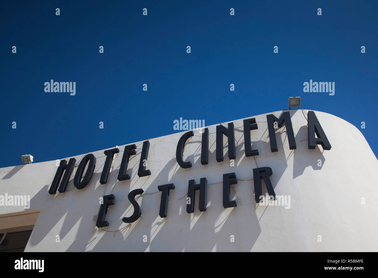Israel, Tel Aviv, Dizengoff Square, Hotel Cinema Esther, hotel in renovated film theater building sign - Stock Image