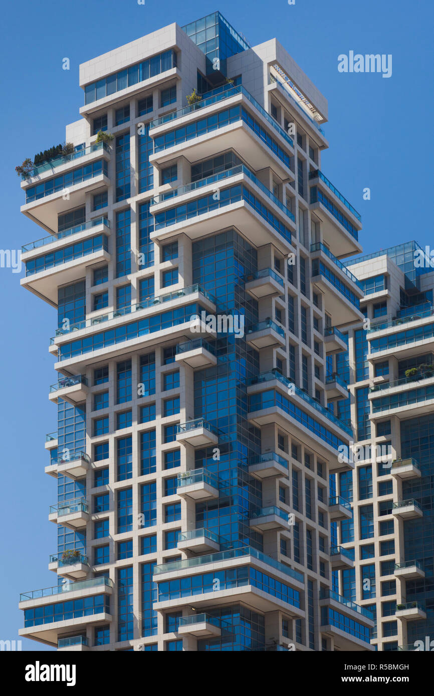 Israel, Tel Aviv, Tzameret Towers, also known as The Akirov Towers, contain most expensive apartments in Israel - Stock Image