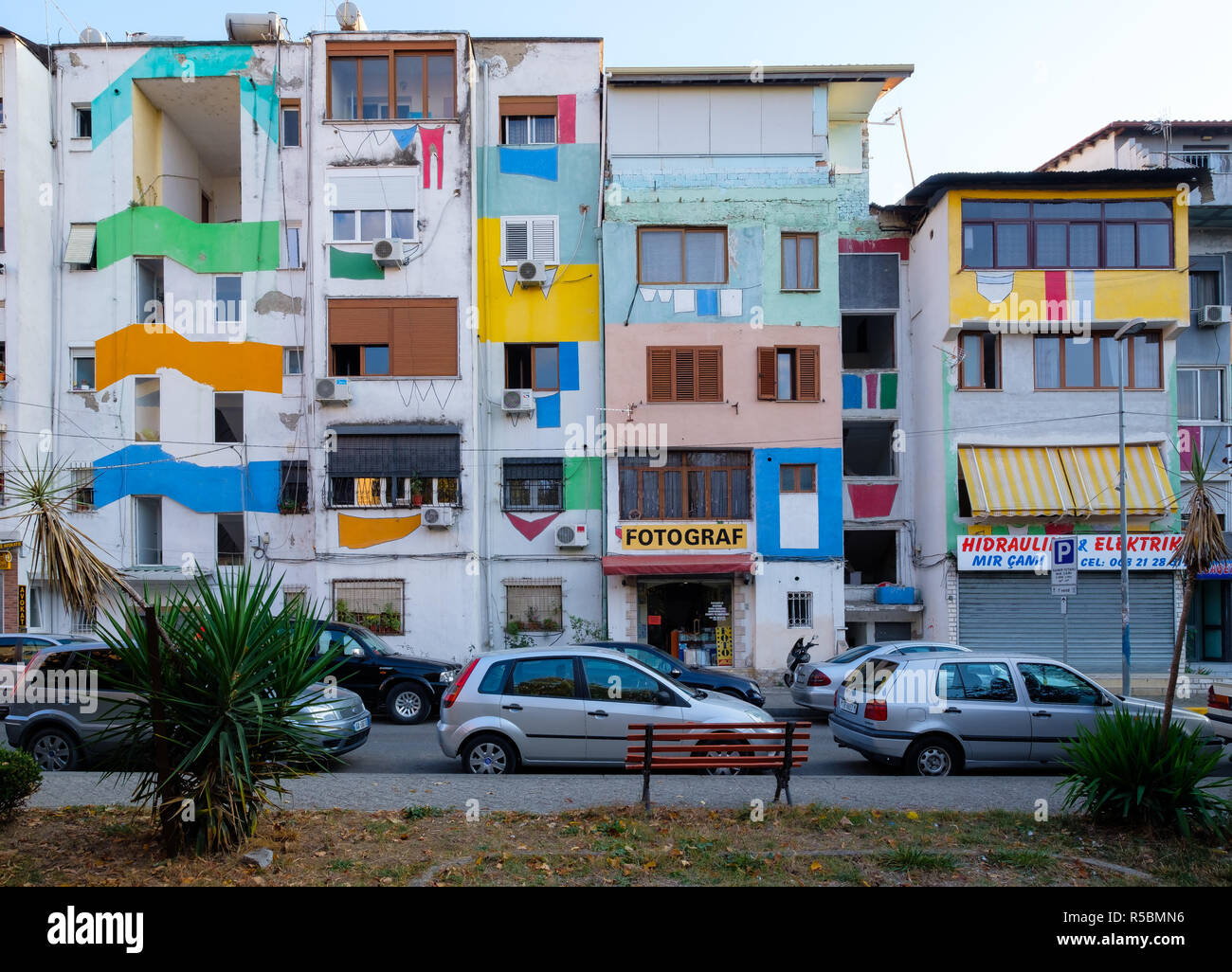 The painted facades of apartment building  by residents in colorful fashion the make city more happy - Stock Image