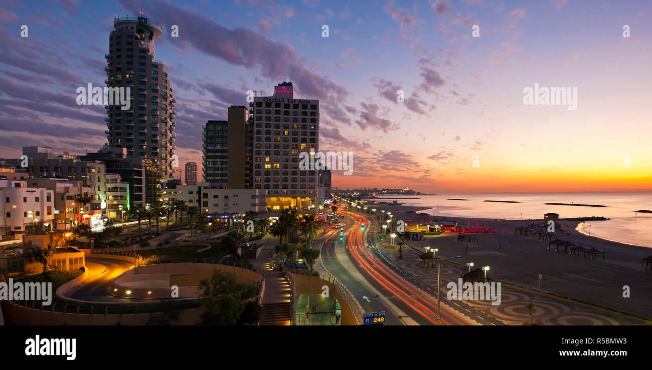 Israel, Tel Aviv, elevated dusk view of the city beachfront Stock Photo