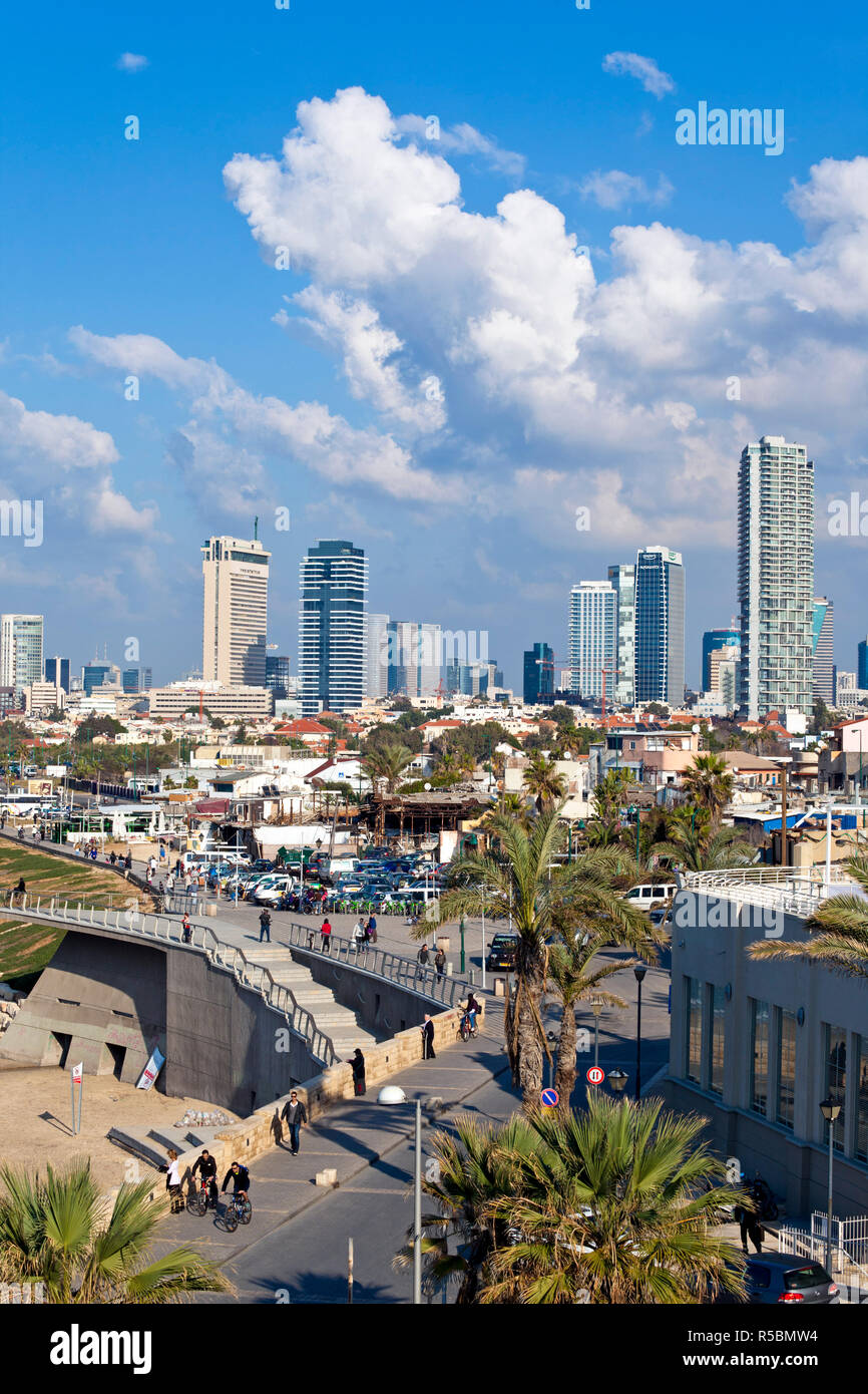 Israel, Tel Aviv, Jaffa, view of beachfront with downtown buildings - Stock Image