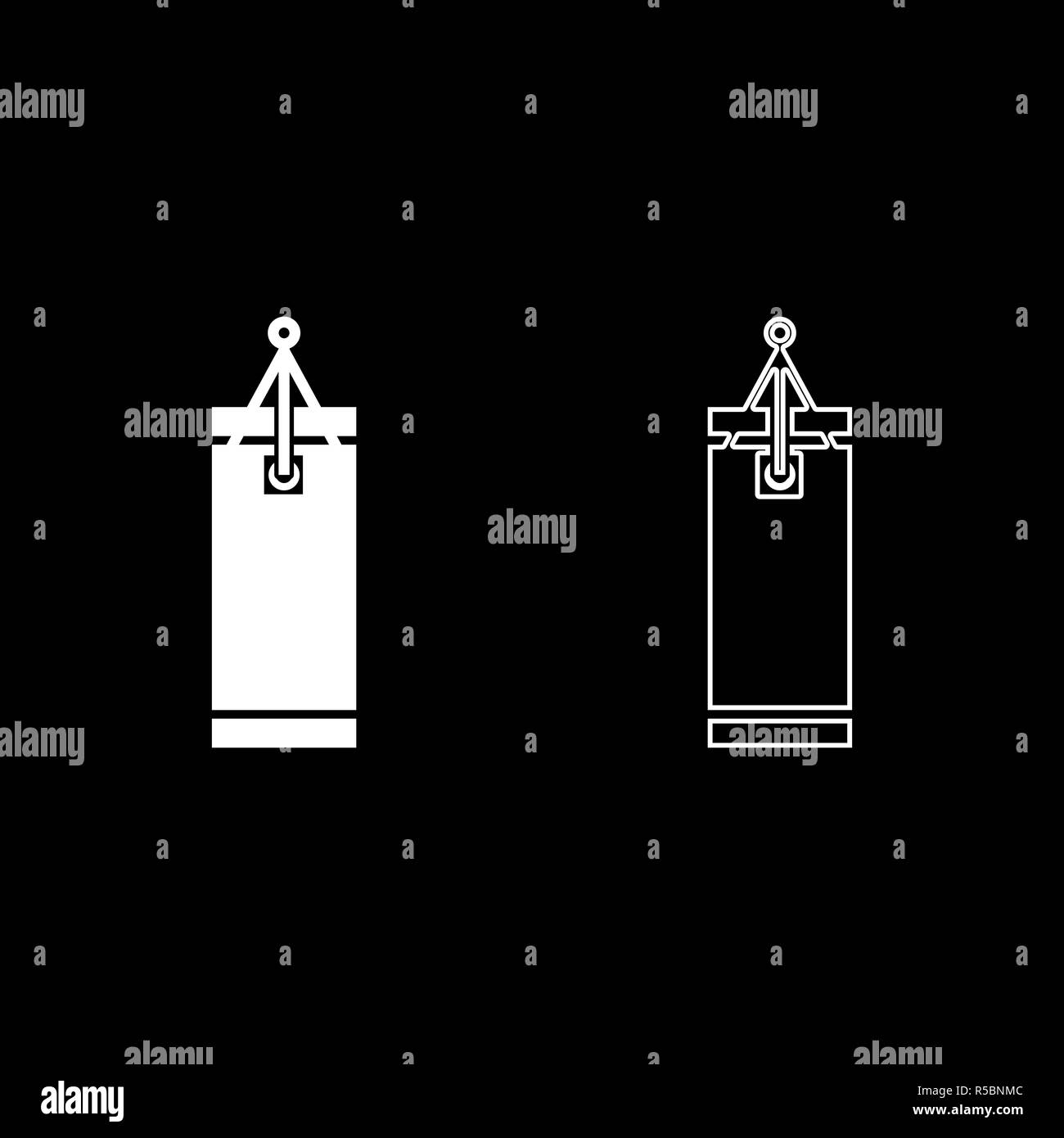 Punching bag icon set white color vector I flat style simple image - Stock Vector