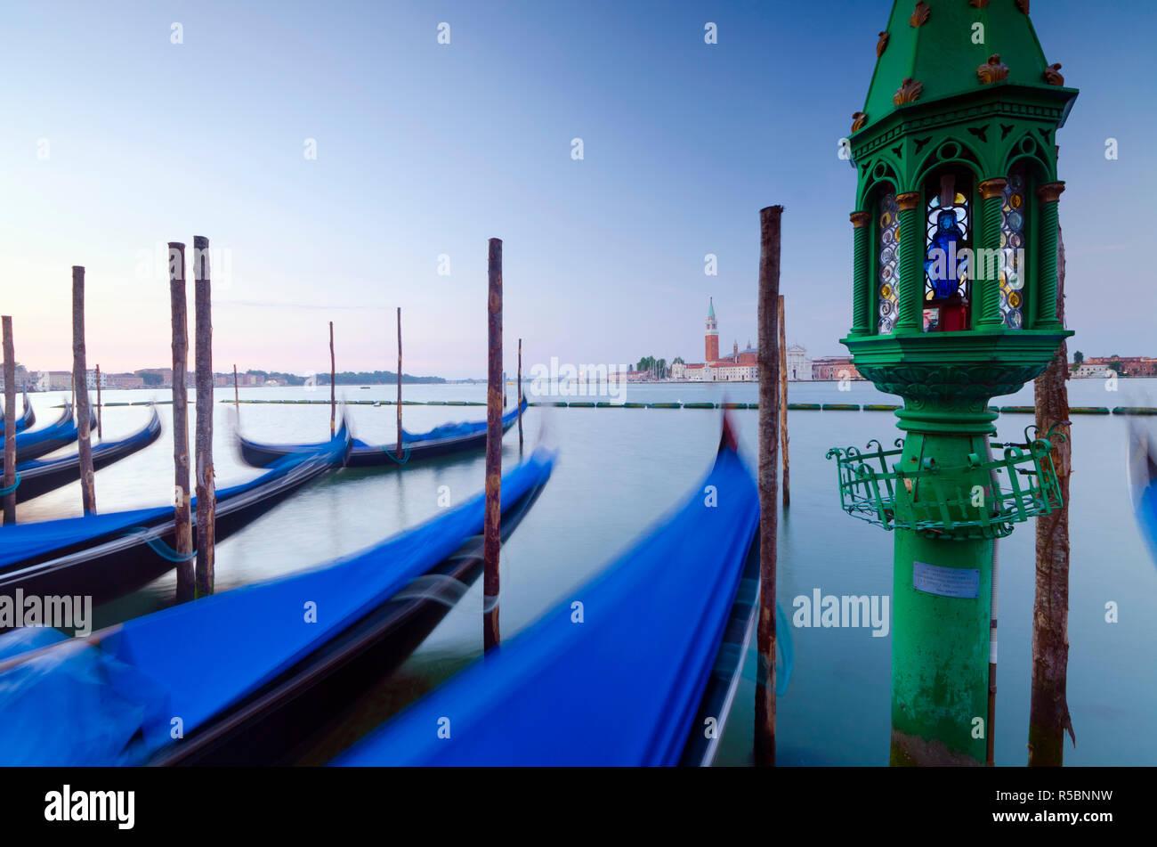 Italy, Veneto, Venice, San Giorgio Maggiore Church across Basino di San Marco, Gondoliers' Shrine Stock Photo