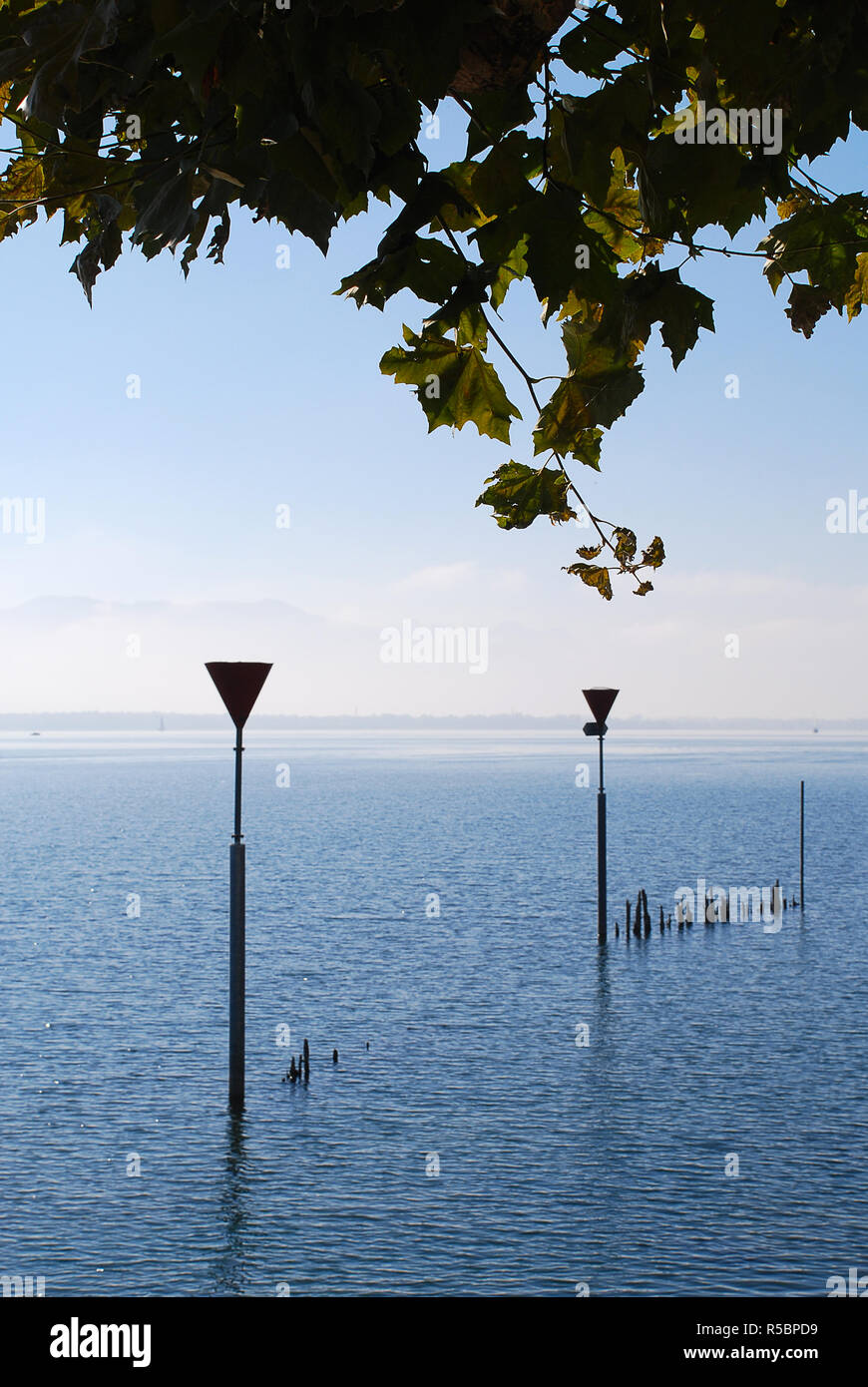 "Coast of Lindau, Bodensee, Germany. Position in Lindau ""Oskar-Groll-Anlage"". Stock Photo"