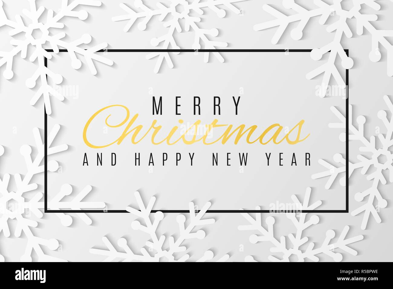 christmas greeting card snowflakes cut out of paper happy new year 2019 seasonal festive web banner text in frame vector illustration eps 10
