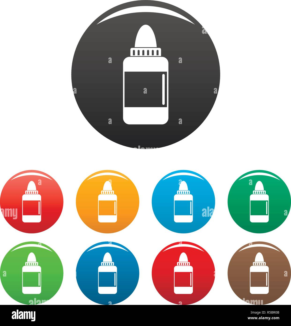 Vaping liquid icons set 9 color vector isolated on white for any design - Stock Image