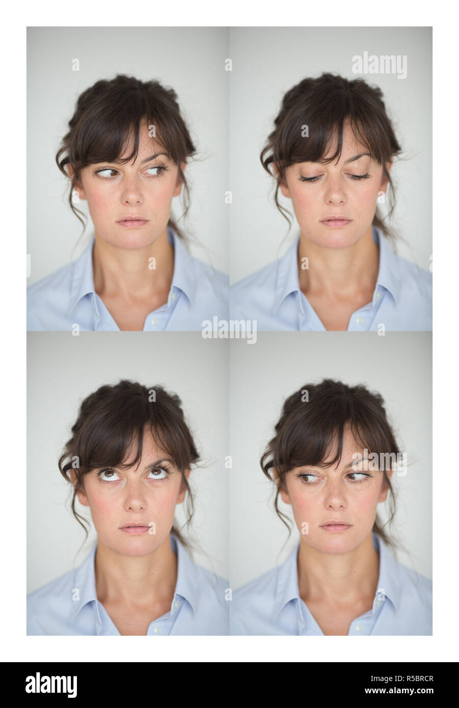 Yoga for eyes : Method consisting in excercising the eye muscles in order to releive the ocular tensions. - Stock Image