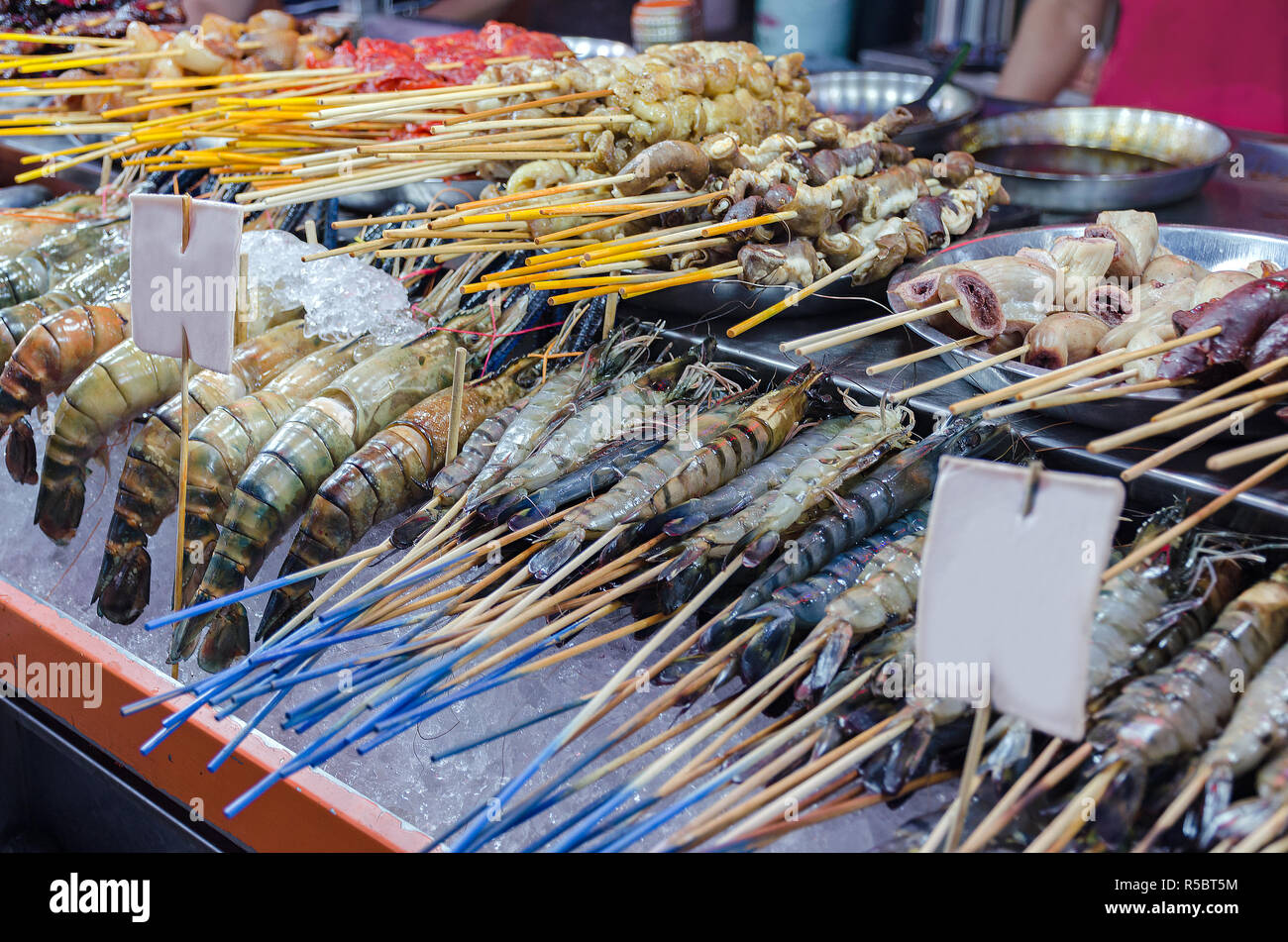 Stall with fresh chilled shrimps, seafood. Food Street Jalan Alor - in Kuala Lumpur, Malaysia. Stock Photo