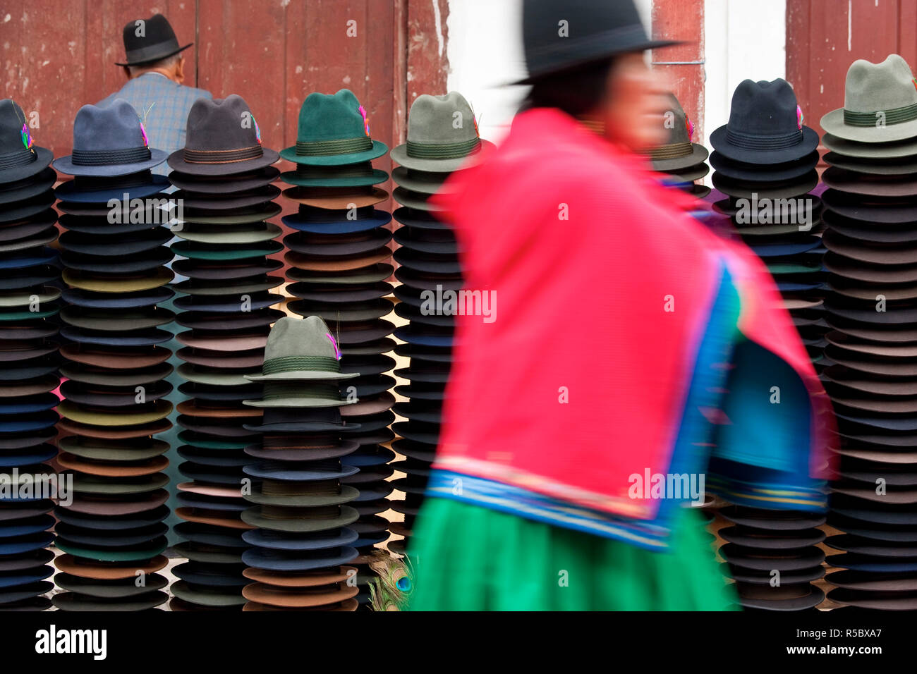 42bcf42f84f04a Hat stall in market, Trilby hats, Guamote, nr Riobamba, Central Highlands,  Ecuador