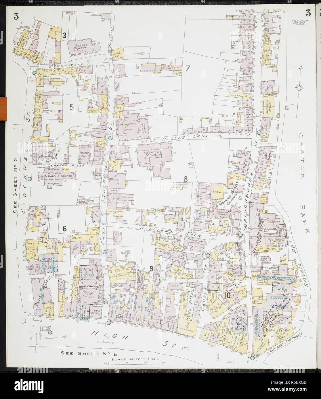 Map Of Colchester Essex Colchester Essex Fire Insurance Plans London Chas E Goad Limited 1909 63x54cm Scale 1 480 40ft 1 Inch Source Maps 149 B 29 2 Sheet 3 Stock Photo Alamy