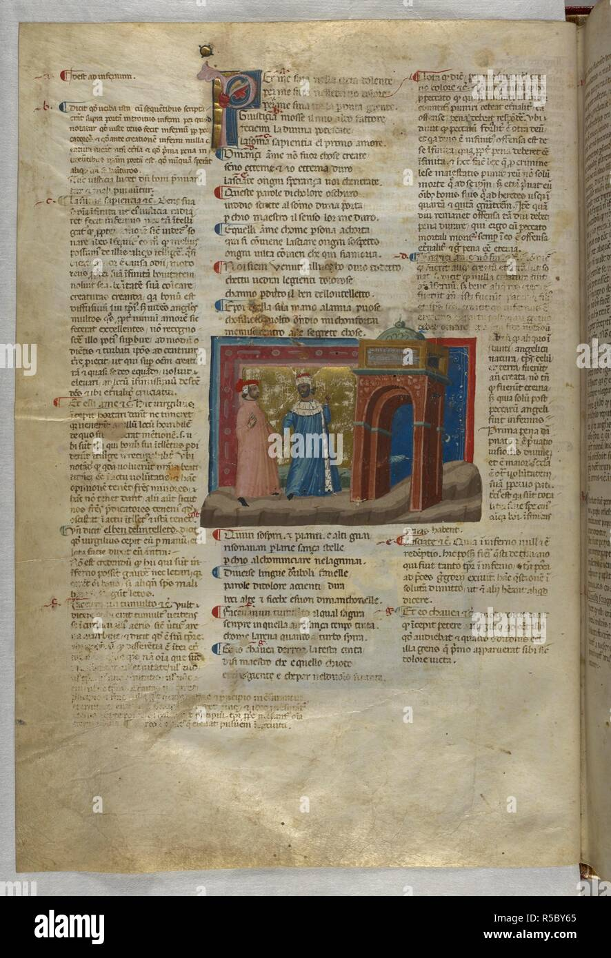 Inferno: Dante and Virgil arrive at the gates of hell. Dante Alighieri, Divina Commedia ( The Divine Comedy ), with a commentary in Latin. 1st half of the 14th century. Source: Egerton 943, f.6v. Language: Italian, Latin. - Stock Image