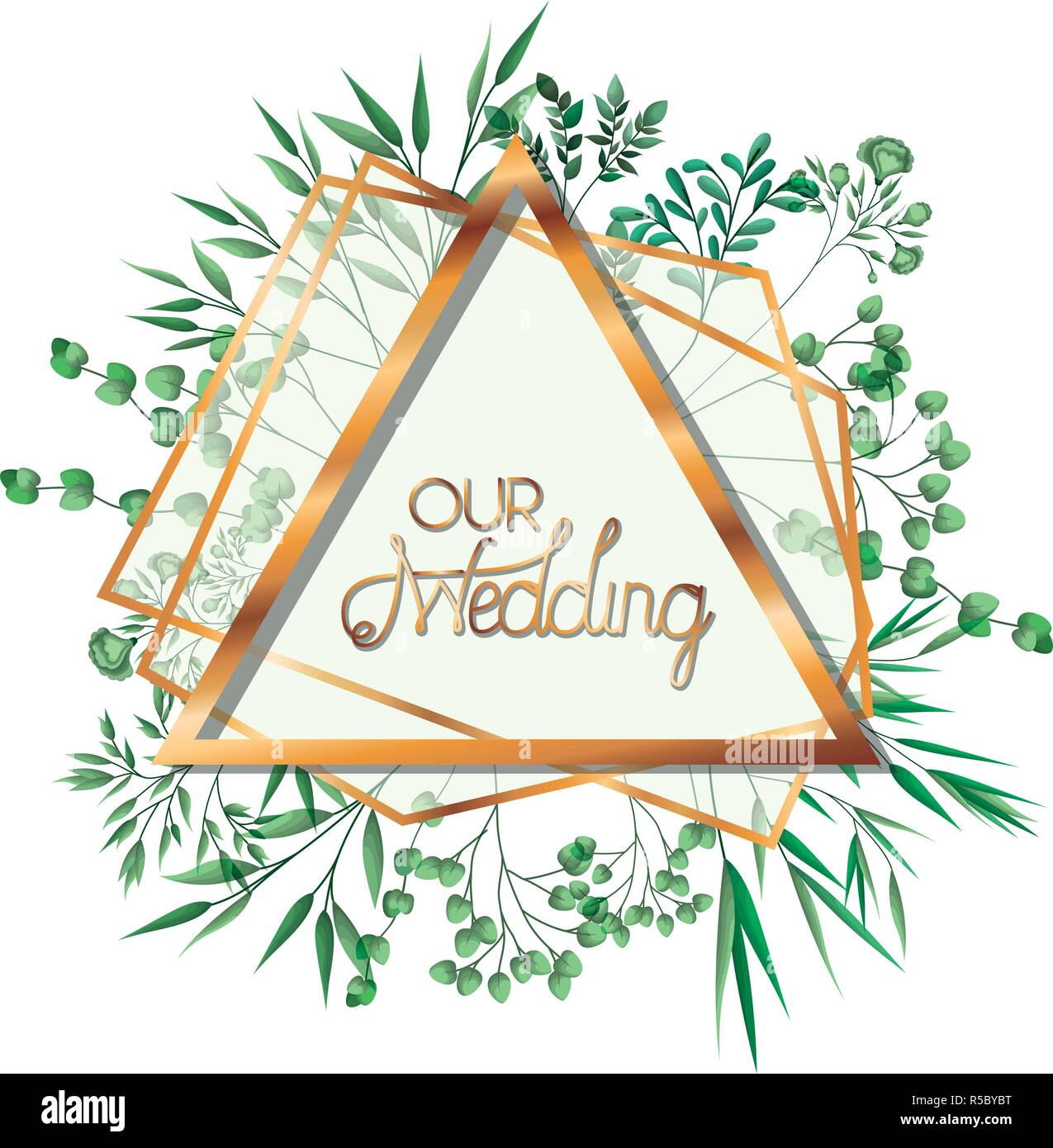Wedding Invitation With Golden Frame Stock Vector Art