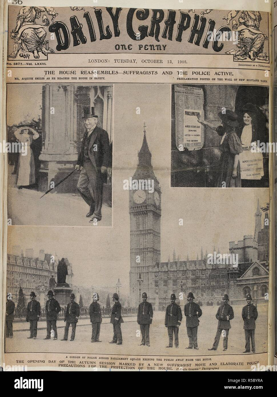 Front cover of the Daily Graphic.  The House reassembles - suffragists and the police active.  The opening day of the autum session marked by a new suffragist move and elaborate precautions for the protection of the house.  . [A collection of press cuttings, pamphlets, leaflets and letters mainly relating to the movement for women's suffrage in England, formed and annotated by M. Arncliffe Sennett.]  . London, 1908. Source: C.121.g.1, vol.LXXVI. no.5877. October 13, 1908. - Stock Image