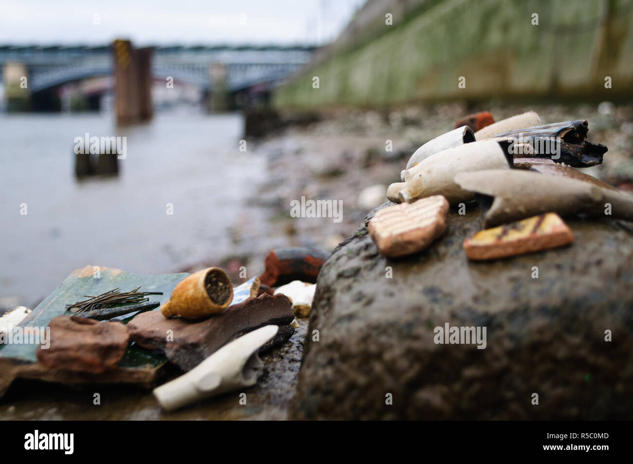 Close up of old objects found on the River Thames - Stock Image
