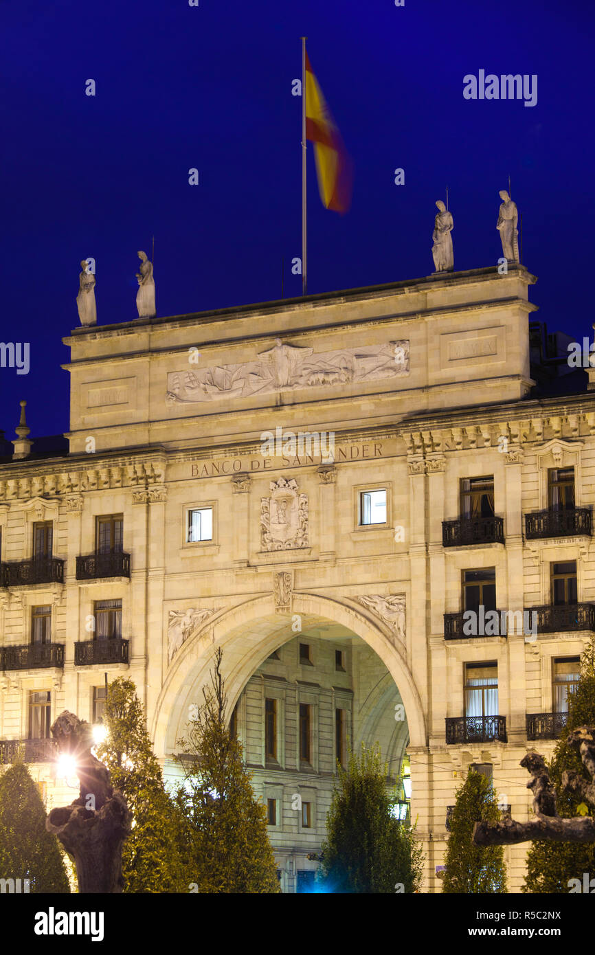 Spain, Cantabria Region, Cantabria Province, Santander of the original Banco de Santander building, largest bank in Europe Stock Photo
