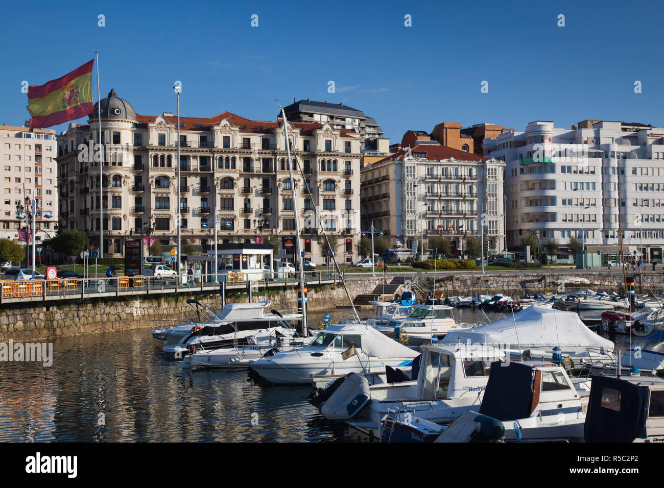 Spain, Cantabria Region, Cantabria Province, Santander, waterfront buildings Stock Photo