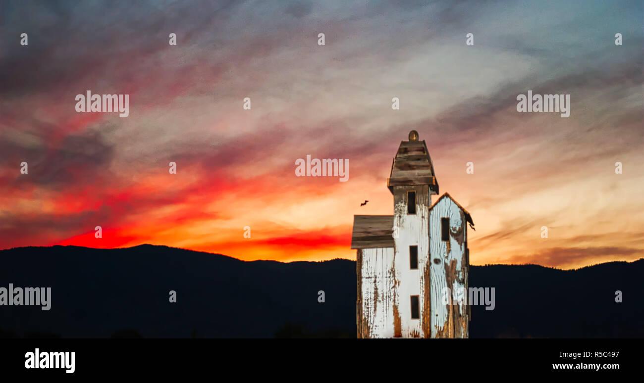 Victorian Birdhouse Sunset - Stock Image