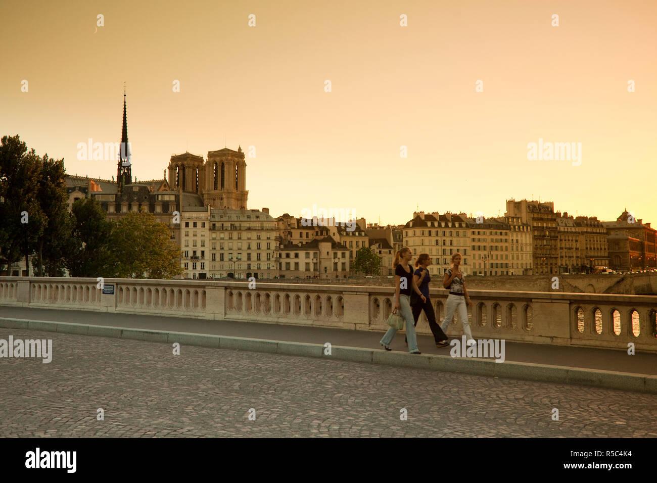 Pont Louis Philippe, Notre Dame & Ile de la Cite, Paris, France - Stock Image