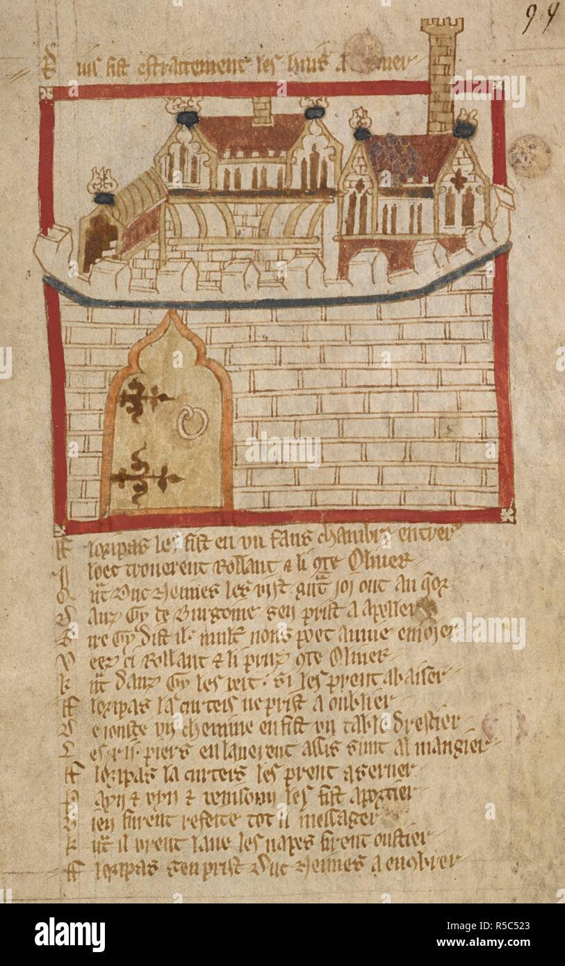 The castle. ROMANCES in French verse ... 14th century. Source: Egerton 3028 f.99. Author: Wace, Canon of Bayeux. Stock Photo