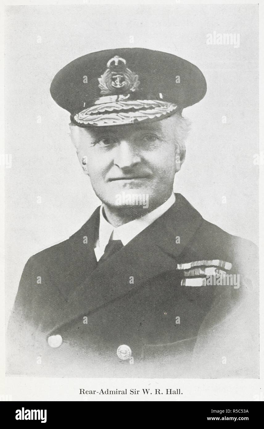 'Rear-Admiral Sir W.R. Hall'. Admiral Sir William Reginald 'Blinker' Hall, KCMG, CB, RN (28 June 1870 – 22 October 1943) was the British Director of Naval Intelligence (DNI) from 1914 to 1919. Together with Sir Alfred Ewing he was responsible for the establishment of the Royal Navy's codebreaking operation, Room 40, which decoded the Zimmermann telegram, a major factor in the entry of the United States in World War I. German Spies at Bay: being an actual record of the German espionage in Great Britain during the years 1914-1918 ... With illustrations. London : Hutchinson & Co., 1920. Source: - Stock Image
