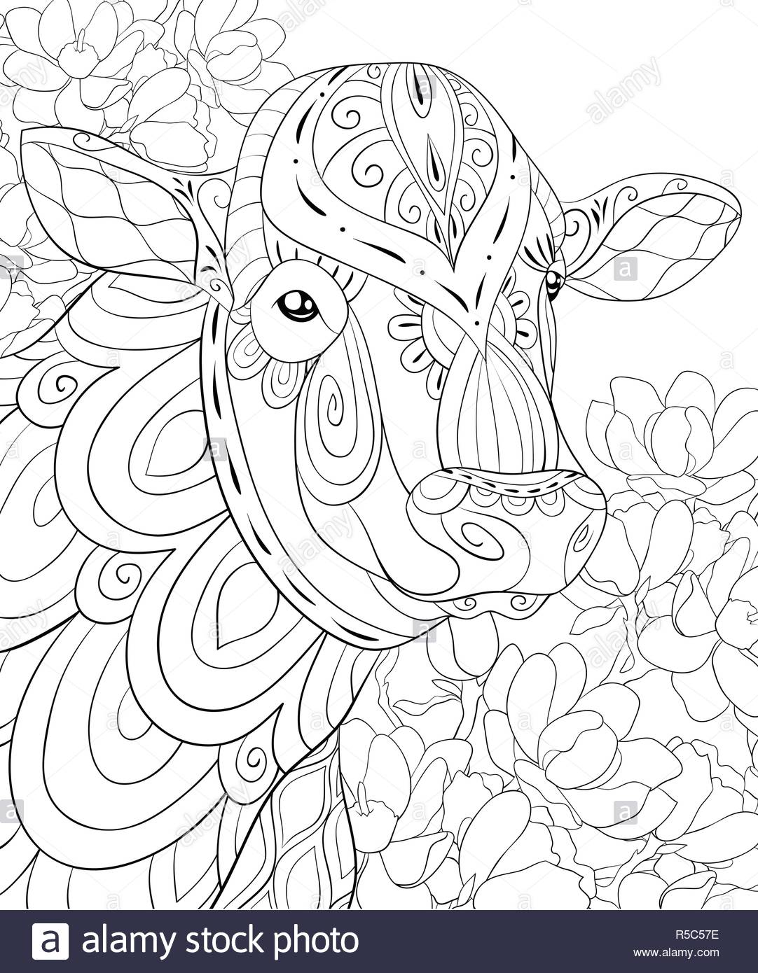 Line Decorative Drawing Indian Cow Stock Photos & Line