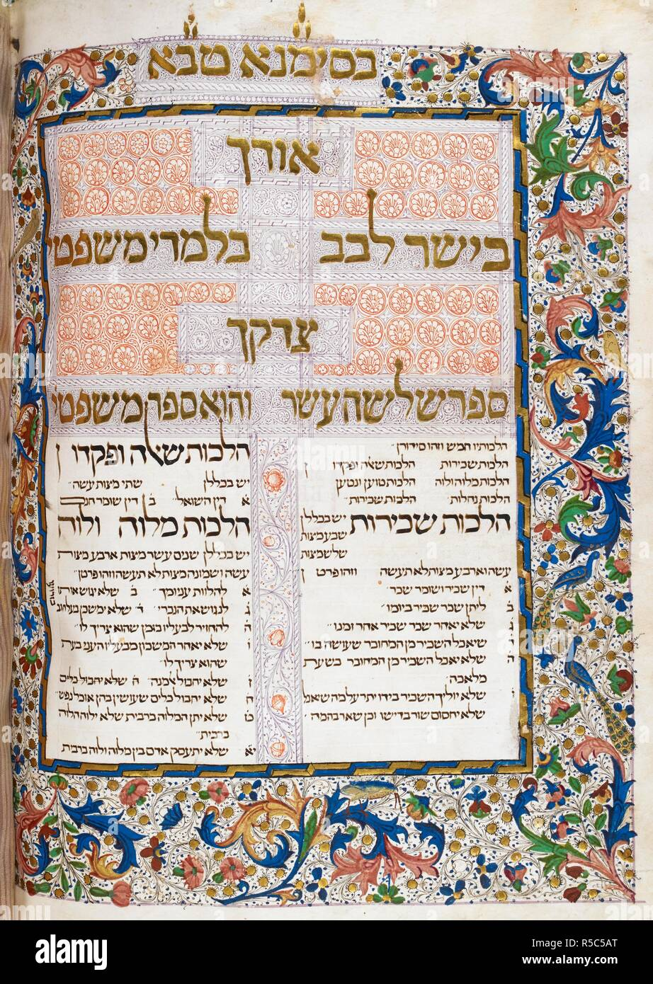 Decorated initial-word panel with gold and penwork, at the beginning of the thirteenth book, the Book of Civil Law (Sefer Mishpatim) with a full foliate border inhabited by birds. Lisbon Mishneh Torah, volume 2. Portugal (Lisbon); 1471-1472. Source: Harley 5699, f.355v. Language: Hebrew. - Stock Image