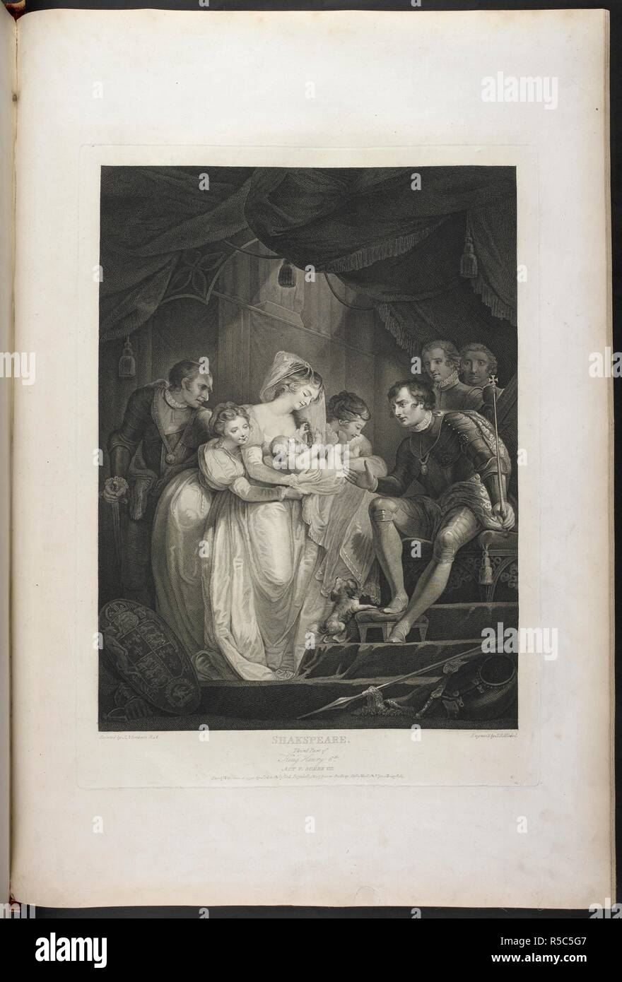 """Third Part of King Henry VI act V scene VII- King Edward is discovered in the Royal Palace sitting on his throne. By his side is Queen Elizabeth with the infant Prince. Clarence, Gloster, Hastings, and others are also present. King Edward states, """"Come Hither, Bess, and let me Kiss my boy ..."""". A Collection of Prints, from pictures painted for the purpose of illustrating the Dramatic Works of Shakspeare, by the Artists of Great Britain. London : J. & J. Boydell, 1803. Source: Tab.599.c vol. II, plate XXI. Language: English. Author: SHAKESPEARE, WILLIAM. Northcote, J. Stock Photo"""