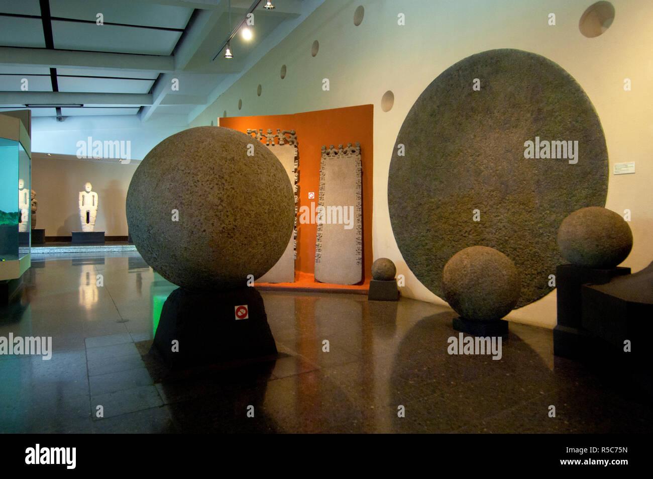 Costa Rica, San Jose, National Museum, Original Spherical Pre-Colombian Stone Display, Costa Rican Cultural Identity - Stock Image