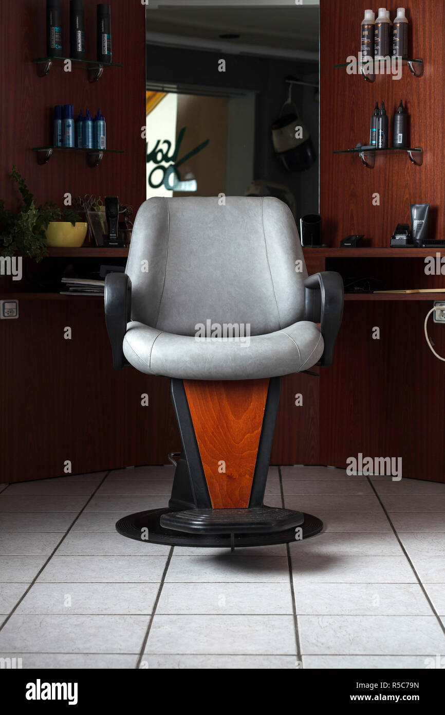 The seat of a vintage hairdresser salon. - Stock Image
