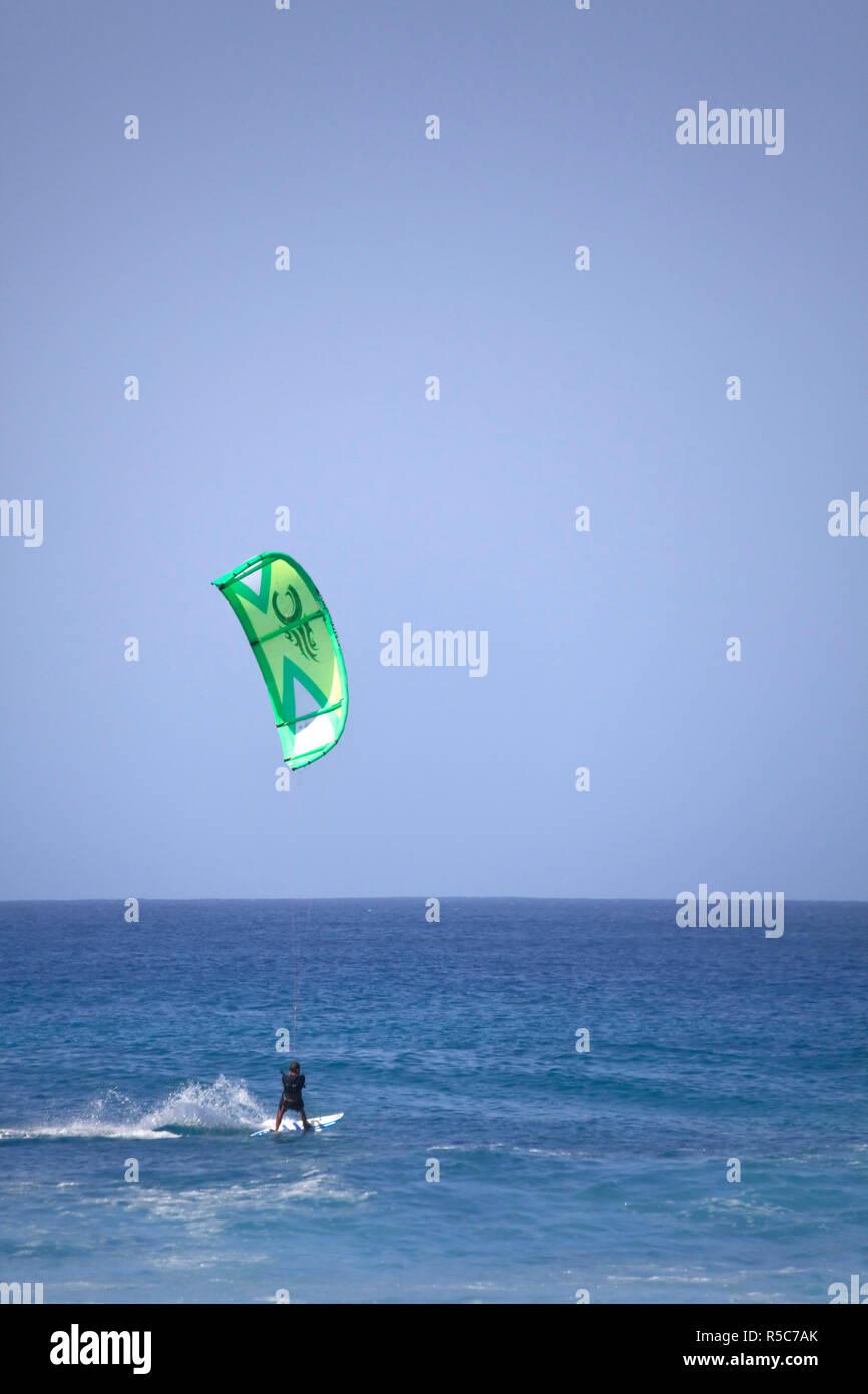 Cape Verde, Sal, Surfers in Ponta Preta, Cape Verde's most famous surfing spot Stock Photo
